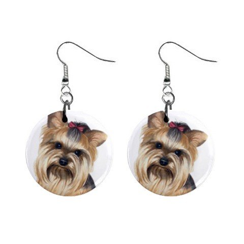 Yorkie Yorkshire Terrier Dog Button Earrings Pet Lover Jewelry 12110663