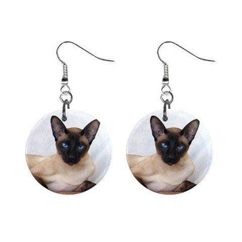 Siamese Cat Pet Lover Jewelry Button Earrings 12203176