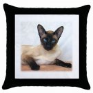 Siamese Cat Pet Lover Throw Pillow Case Black 12203179