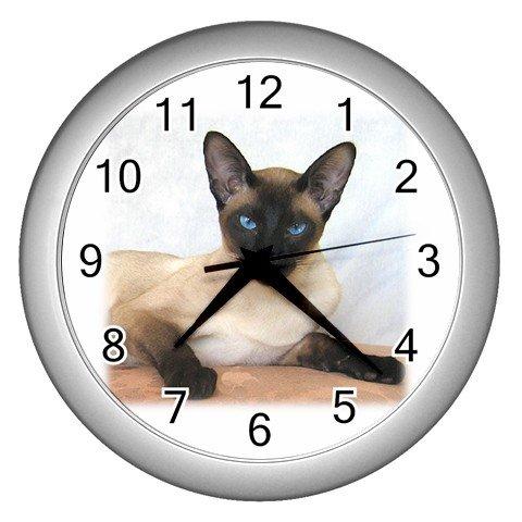 Siamese Cat Pet Lover Wall Clock Silver 12203181