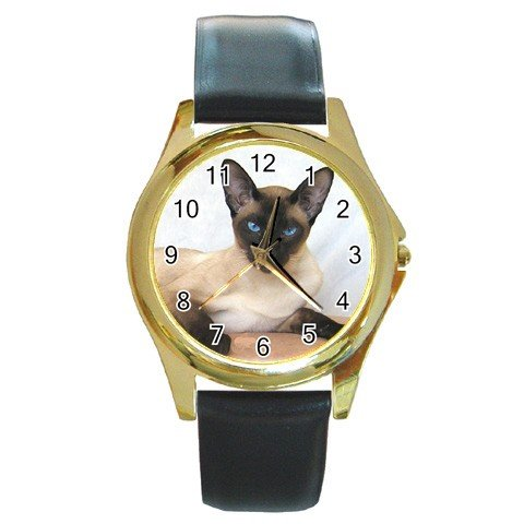 Siamese Cat Pet Lover Round Gold Metal Watch Unisex  12203184