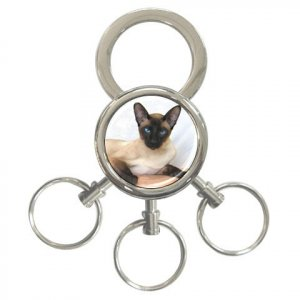 Siamese Cat Pet Lover 3 Ring Key Chain 12203185