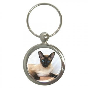 Siamese Cat Pet Lover Key Chain Round 12203186