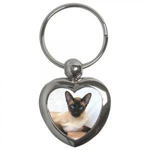 Siamese Cat Pet Lover  Key Chain Heart 12203188