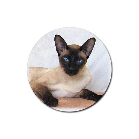Siamese Cat Pet Lover  Rubber Round Coaster 4 pack 12203190