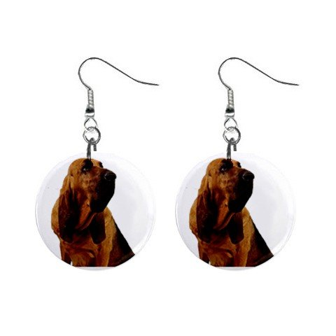 Bloodhound Dog Pet Lover Jewelry Button Earrings 12144802