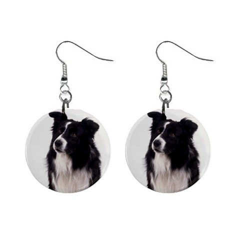 Border Collie Dog Pet Lover Jewelry Button Earrings 12142749
