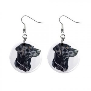 black lab labrador retriever dog jewelry button earrings