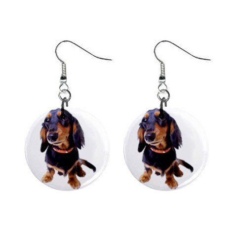 Dachshund Dog Pet Lover Jewelry Button Earrings 12134425