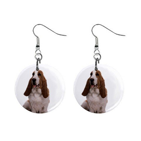Basset Hound Dog Pet Lover Jewelry Button Earrings 12125351