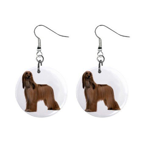 Afghan Hound Dog Pet Lover Jewelry Button Earrings 12112186