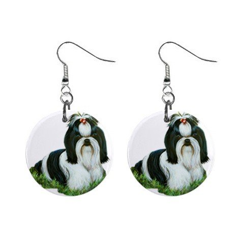 Shih Tzu Dog Pet Lover Jewelry Button Earrings 12112153