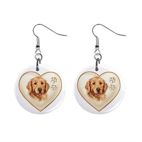 Golden Retriever Lab Heart Pet Lover Jewelry Button Earrings 12977540