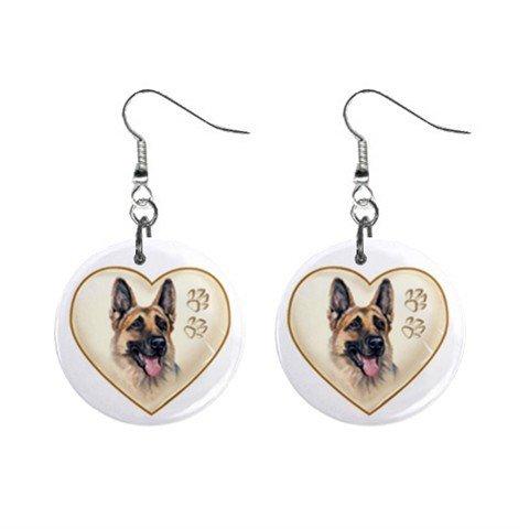 Dog German Sheperd  Heart Pet Lover Jewelry Button Earrings 12977543