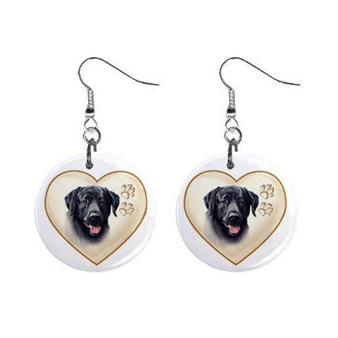 Black Lab Labrador Retriever Dog Heart Pet Lover Jewelry Button Earrings 12977545