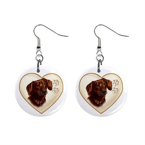Dachshund Dog Heart Pet Lover Jewelry Button Earrings 12977546