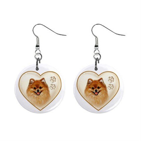 Dog Pomeranian Heart Pet Lover Jewelry Button Earrings 12977548