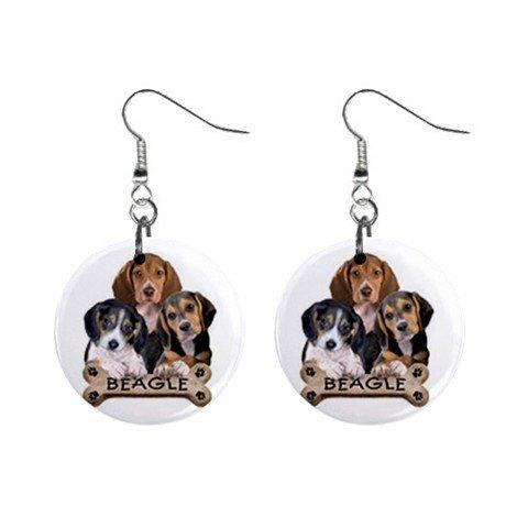 Dog Beagle Pet Lover Jewelry Button Earrings 15454521