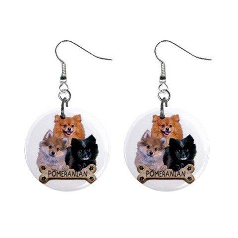 Pomeranian Dog Pet Lover Jewelry Button Earrings 15454520