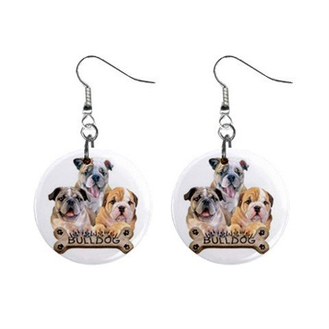 Bulldog Dog Pet Lover Jewelry Button Earrings 15454518