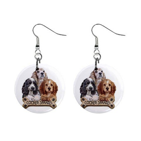 Cocker Spaniel  Dog Pet Lover Jewelry Button Earrings 15454516
