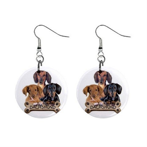 Dachshund Dog Pet Lover Jewelry Button Earrings 15454499