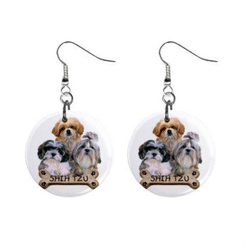Shih Tzu Dog Pet Lover Jewelry Button Earrings 15454498