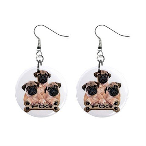 Pug Dog Pet Lover Jewelry Button Earrings 15454489
