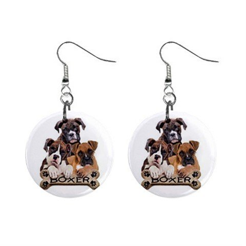 Boxer Dog Pet Lover Jewelry Button Earrings 15454487