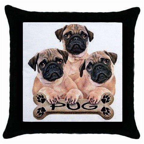 "Pug Dog 18"" Toss or Throw Pillow Case Pillowcase 15832958"