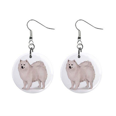 American Eskimo Dog Pet Lover Jewelry Button Earrings 13018514