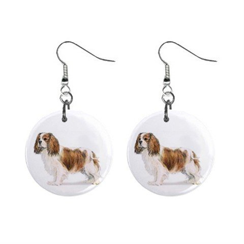 Cavalier King Charles Spaniel  Dog Pet Lover Jewelry Button Earrings 13018518