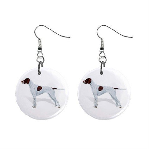 English Pointer Dog Pet Lover Jewelry Button Earrings 13018521