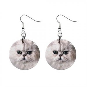 White Persian Cat Pet Lover Jewelry Button Earrings 12201236