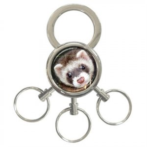 Ferret Pet Lover 3 Ring Key Chain 17473608
