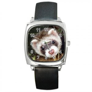 Ferret Pet Lover Square Metal Watch Unisex 17473623
