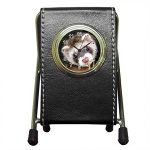 Ferret Pet Lover Pen Holder Desk Clock 17473628