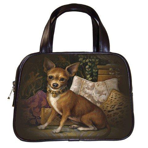 Brown Designer 100 Leather Chihuahua Dog Handbag Purse