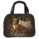 Brown Designer 100% Leather Chihuahua Dog Handbag Purse #19334666