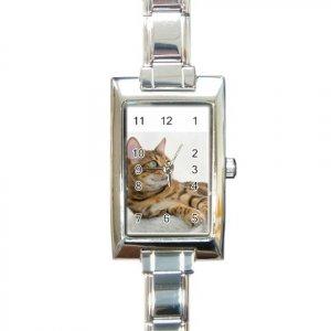 BENGAL CAT Rectangular Italian Charm Watch 20034204