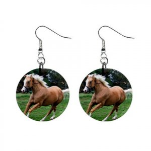"New Palomino Horse 1"" Round Button Dangle Earrings Jewelry  13164155"