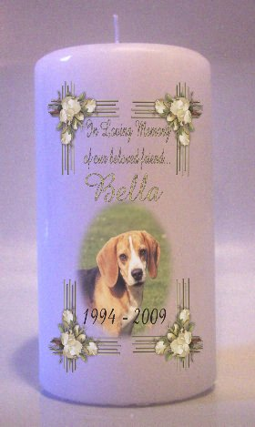 Custom PET MEMORY PHOTO White Roses frame 6 inch Pillar Candle Memorial