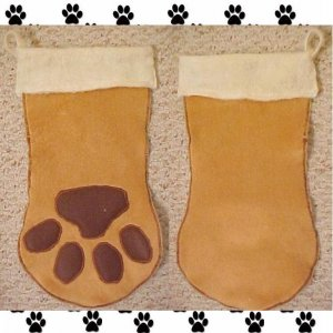 "Pet Dog Christmas Stocking 16"" Paw Dog Hand Made One of a Kind 20097"