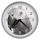 AFRICAN GREY Bird Pet Lover Wall Clock Silver 17476843