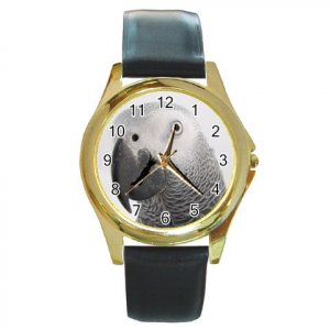AFRICAN GREY Bird Pet Lover Round Gold Metal Watch Unisex 17476846