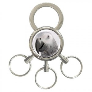 AFRICAN GREY Bird Pet Lover 3 Ring Key Chain Keychain17476847