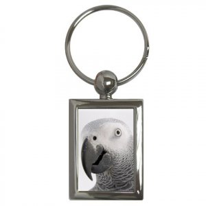 AFRICAN GREY Bird Pet Lover Key Chain Rectangle 17476852