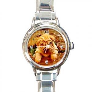 CHINESE SHAR PEI Puppy Dog Round Italian Charm Watch 14172875 PAEC