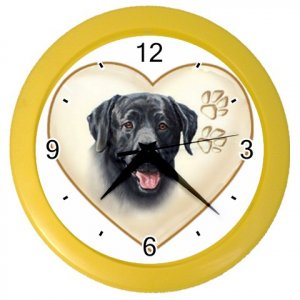 BLACK LAB Dog Pet Lover Wall Clock Yellow 26588070 PAEC