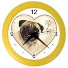 PUG Dog Pet Lover Wall Clock Yellow 26588113 PAEC